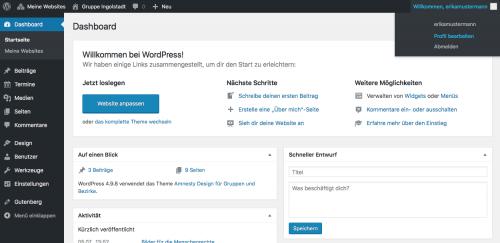 Backend von WordPress du siehst das Dashboard