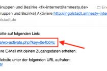 Ansicht der E-Mail mit Bestätigungslink