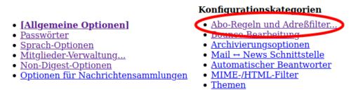 Abo-Regeln und Adressfilter in Mailman 2