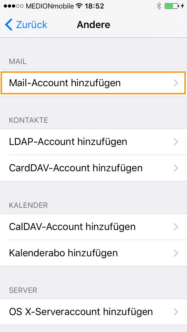 Mail-Account hinzufügen auswählen.