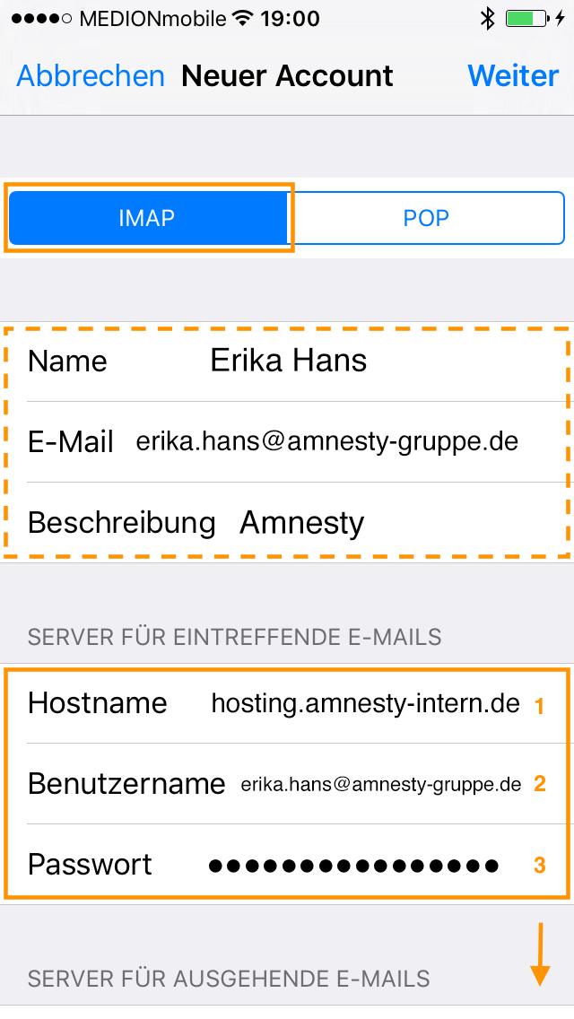 IMAP auswählen. Die Werte im gestrichelten Rahmen wurden in der Regel aus dem vorherigen Schritt übernommen. Bei Hostname (1) wird hostig.amnesty-intern.de als Server für eintreffende E-Mails und die E-Mail-Adresse als Benutzername (2) eingegeben. Bei (3) wird das Passwort des E-Mail-Kontos eingegeben. Anschließend folgen weitere Eingaben im unteren Teil des Bildschirms!