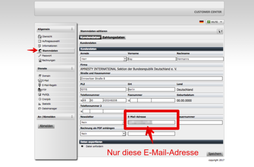 Stammdaten E-Mail-Adresse